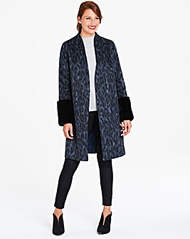 Helene Berman Edge to Edge Faux Fur Cuff Coat