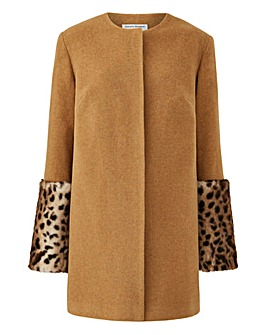 Helene Berman Faux Fur Cuff Coat