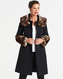 Helene Berman Faux Fur Collar Coat