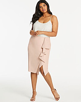 Coast PU Ruffle Pencil Skirt