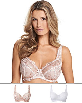 2Pack Ella Lace Full Cup Blush/White Bra