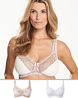 2Pack Ella Lace NonWired Blush/White Bra