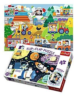 Flip Flap Puzzles- Space & Vehicles
