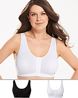 Naturally Close 2 Pack Hook and Eye Cotton Rich Black/White Bras