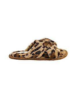 Accessorize Leopard Faux Fur Slipper