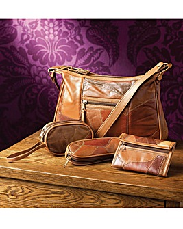 Leather Patchwork Organiser Set 4Pc