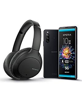 Sony Xperia 10 III Black & Sony WH-CH710N Headphones