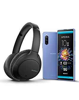 Sony Xperia 10 III Blue & Sony WH-CH710N Headphones