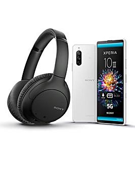Sony Xperia 10 III White & Sony WH-CH710N Headphones