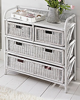 White Wicker 2 plus 2 Drawer Chest
