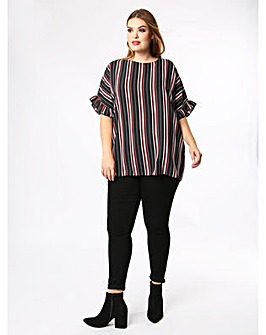Lovedrobe GB Frill Sleeve Stripe Top