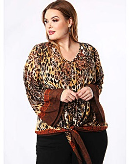 Lovedrobe GB Leopard Print Tie Front Top