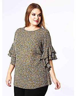 Lovedrobe GB Frill Sleeve Floral Top