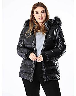 Lovedrobe Black Padded Wet Look Coat
