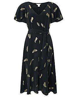 Monsoon Fira Feather Print Midi Dress