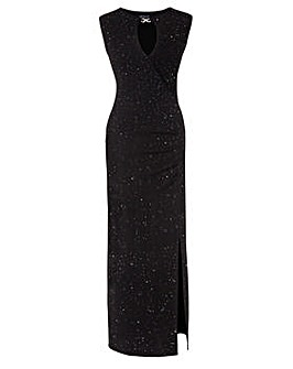 Grace glitter maxi dress with neck jewel