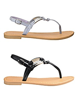 Two Pack Rope Sandals Extra Wide Fit