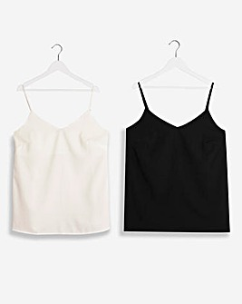 Black/Ivory Two Pack Woven Strappy Cami