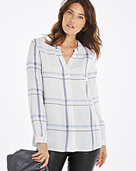 Grandad Collar Check Shirt