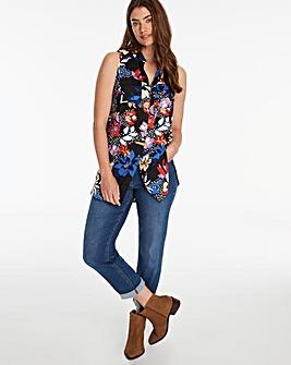 Floral Print Sleeveless Viscose Shirt