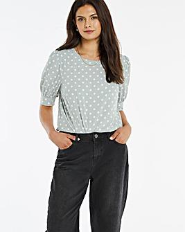 Puff Sleeve Woven T-Shirt