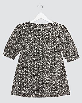 Mono Ditsy Puff Sleeve Woven T-Shirt