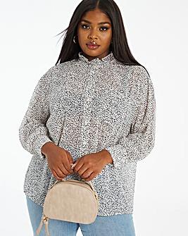 Mono Print Oversized Slouchy Shirt