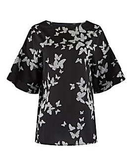 Butterfly Print Fluted Sleeve Boxy Top