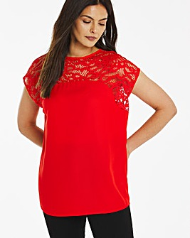 Curved Lace Yoke Blouse