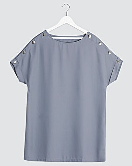 Smokey Blue Button Detail Woven Longline Top