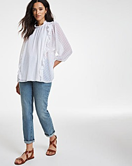 Ivory Pleated Front Dobby Blouse