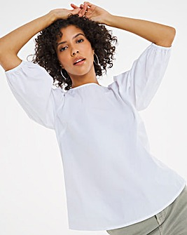 White Cotton Poplin Puff Sleeve Top