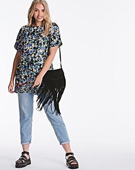 Blue Print Woven Longline Boxy T-Shirt
