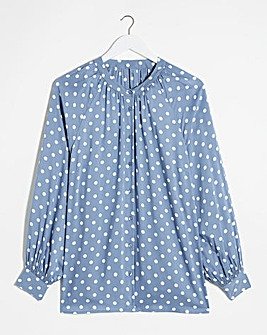 Blue Spot Viscose Collarless Blouse