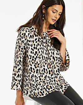 Leopard Print Wide Sleeve Blouse