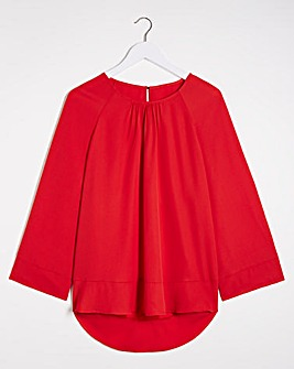 Red Wide Sleeve Blouse