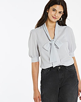 Sage Short Sleeve Pussy Bow Blouse