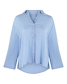 Soft Blue Crinkle Turn up Sleeve Shirt