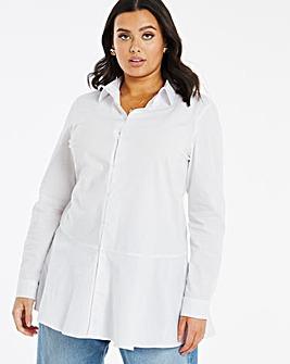Cotton Longline Peplum Hem Shirt