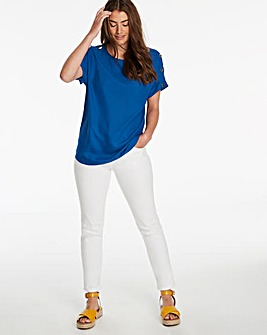 Bright Blue Button Detail Woven T-Shirt