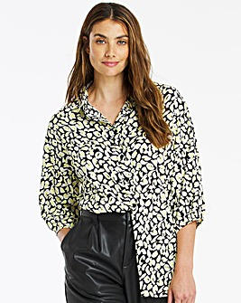 Animal Print Balloon Sleeve Shirt