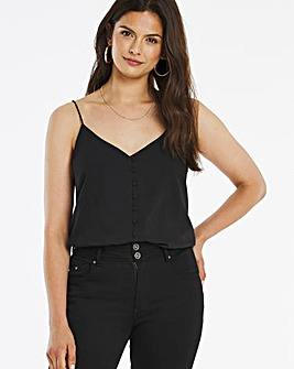 Black Button Front Jacquard Cami