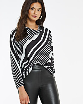 Mono Stripe Cowl Neck Long Sleeve Top