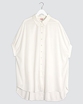 Ivory Oversized Button Through Blouse