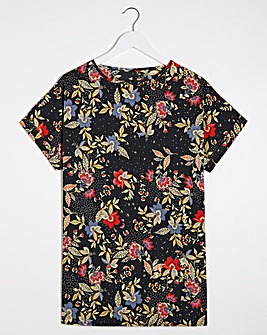 Floral Print Longline Woven Boxy Top