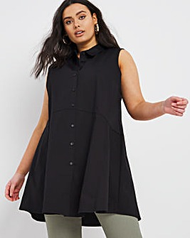 Black Stretch Sleeveless Fit and Flare Shirt