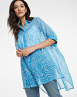 Blue Print Oversized Blouse With Cami