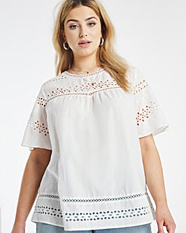 Ivory Cotton Broderie Woven Tee
