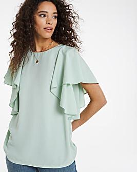 Mint Ruffle Sleeve Top