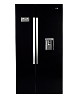 Beko Freestanding American Style Fridge Freezer Black ASD241B + INSTALLATION